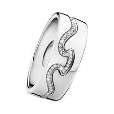 Fusion Ring - 18ct White Gold/Diamonds/2-Parts - Diamonds in the frame - CJ  #diamonds #diamond #jewellery #lovely #gift #catherinejones #cambridge #local #spiral #wedding #wedding band #georgjensen