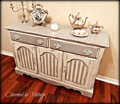 This would be beautiful as a bathroom vanity with a marble top and sink.  Vintage Shabby French Sideboard Server