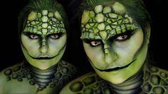 Scary, Sexy And Easy Halloween Makeup Ideas To Try Lizard Costume, Costume Makeup Tutorial, Amazing Halloween Makeup, Animal Makeup, Cute Reptiles, Adventure Time, Horror Makeup, Theatrical Makeup, Green Makeup