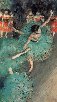 The Green Dancer. 1879. by Edgar Degas. pastel, 66 x 36 cm