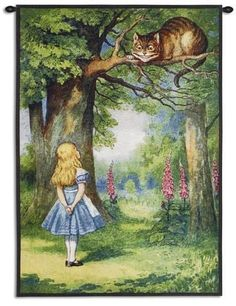 Wall Tapestry: Children's Book Illustrations Wall Tapestry : 44x31in John Tenniel, Lewis Carroll, Alice In Wonderland Illustrations, Book Illustrations, Chesire Cat, Cat Posters, Adventures In Wonderland, Wonderland Alice, Wonderland Party