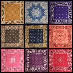 Just listed, a beautiful collection of colorful vintage bandanas. Paisley Art, Paisley Flower, Vintage Bandana, Tea Party Table, Bandana Design, Bandana Styles, Biker Gear, Bandana Print, Scarf Design