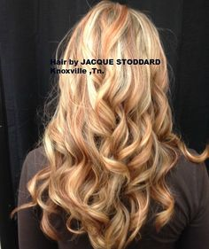 #Blonde with copper #lowlights and #curls