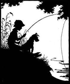Silhouette Design Store - View Design boy and dog fishing Silhouette Design, Silhouette Projects, Dog Silhouette, Gravure Laser, Boy Fishing, Fishing Boats, Silhouette Online Store, Stencil Art, Stencils