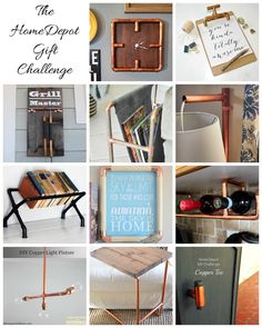 The Home Depot Gift Challenge! 12 Bloggers select one item from Home Depot and create gifts using that item.  This month was copper pipe fittings.  Check out all the projects at The Domestic Heart blog! #HDgiftchallenge