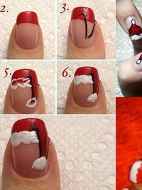 Pictures : DIY Santa Nail Art Designs for Christmas