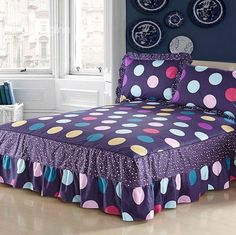 Fantastic Dark Purple and Shining Dots Pattern Bed Skirt Living Room Decor Curtains, Bedroom Decor, Beautiful Bedding Sets, Designer Bed Sheets, Bars For Home, Bed Covers, Luxury Bedding, Kids Bedroom, Toddler Bed