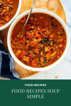 This lentil soup recipe is truly the BEST. It's hearty, fresh and nutritious, an… - Vegetarian lifestyle Best Lentil Soup Recipe, Vegan Lentil Soup, Lentil Recipes, Hearty Recipe, Vegetarian Cookbook, Vegetarian Recipes, Cooking Recipes, Vegan Vegetarian, Vegetarian Lifestyle