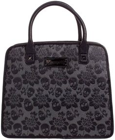 Black Embossed Loungefly Skull Lace Purse Bag Satchel Handbag Day of the Dead