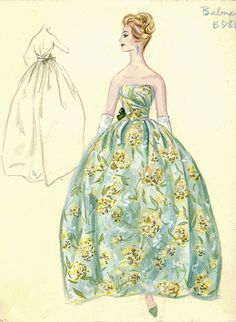 Balmain Haute Couture fashion illustration. Strapless evening ball gown in flower floral patterned print beautifully gather at the bodice with a decorate bow at the sides of the dress. Includes back views in pencil. Bergdorf Goodman 1950s #Collection #Balmain #Fashion