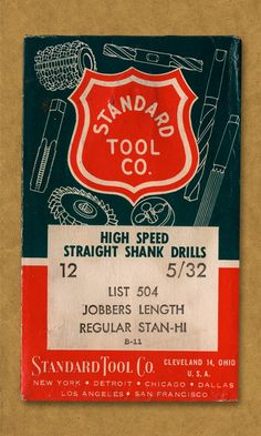 Standard Tool Co. High Speed Straight Shank Drills.