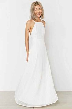 Kimchi Blue Apron Neck Embroidered Maxi Dress - Urban Outfitters