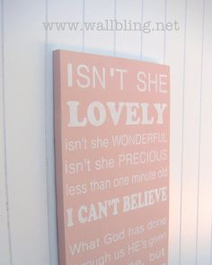 Baby Girl Subway Art Wood Sign  Isn't She Lovely  by WallBling, $65.00 BOUGHT it for Eve, so sweet
