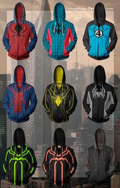 From Top Left: Flipside Web-Man Fantastic Four Spider-Man Blood Spider Spider Armor Negative Zone Spider-Man Big Time Stealth Suit Spider-Man (Stealth Mode) Big Time Stealth Suit Spider-Man (So. Marvel Anime, Marvel Comics, Marvel Dc, Captain Marvel, Moda Geek, Stealth Suit, Comic Art, Comic Books, Super Hero Outfits