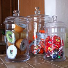 Apothecary jars filled with healthy kid snacks!