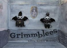 Anxst the Grimmblee a one of a kind creepy-cute Gothic Soft Sculpture, Sculptures, Crow Skull, Big Blue Eyes, Broody, Clay Faces, Creepy Cute, Black Felt, Little Monsters