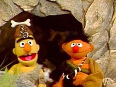 Bert and Ernie as cavemen