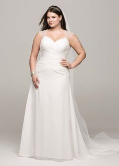 This striking chiffon A-line gown is both beautiful and timeless! Chiffon gown features stunning beaded cap sleeve detail and chic cut out back. Criss-cross ruching on bodice provides a flattering focal point. Wedding Dresses Plus Size, New Wedding Dresses, Plus Size Wedding, Bridal Dresses, Davids Bridal, Wedding Gown Preservation, Plus Size Brides, Curvy Bride, A Line Gown