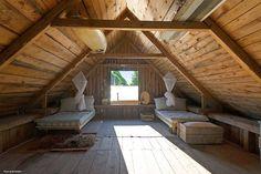 my scandinavian home: A cute holiday home on Gotland Attic Bedroom Designs, Attic Bedrooms, Attic Design, Attic Loft, Loft Room, Attic Renovation, Attic Remodel, Bungalows, Style Deco