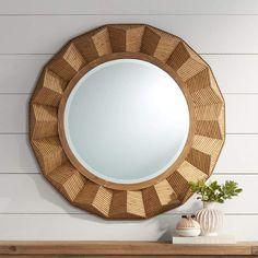 "Preston Dark Rattan 36"" Round Angled Framed Wall Mirror - #76H22 | Lamps Plus"