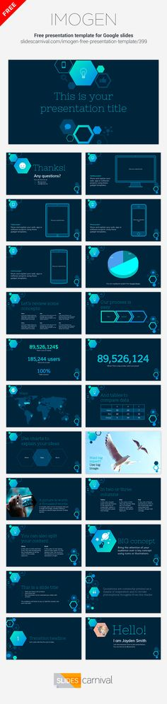 With an hexagons and icons pattern this free presentation template is great for techy content. A dark background and bright blue color palette gives a professional look, so you can use it in business and corporate meetings. The hexagon's gradients won't easily adapt to any brand, but they are editable and you can change them to a single corporate color to better suit your message.