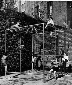 An old Climbing frame that would never pass modern Health and Safety standards
