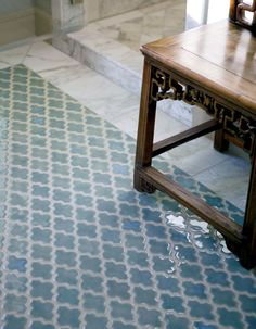 Pattern tile with no border to marble