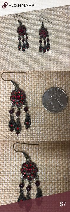 Stunning long red stones chandelier earrings/ SALE 5 inches long ...