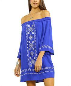 Look at this #zulilyfind! Blue & White Geometric Off-Shoulder Dress #zulilyfinds