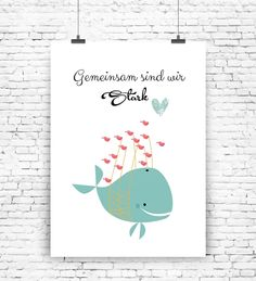 Süßes Poster mit Wal und Spruch / cute artprint with whale made by MilaLu via DaWanda.com