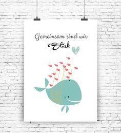Süßes Poster mit Wal und Spruch / cute artprint with whale made by MilaLu via DaWanda.com