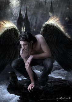 Once one of the most trusted angels of God, Hananiah is now one of the infamous dark angels that merely feed on souls and misery. He soon grows attached to Évike though, which raises attention in the Seven. Fantasy Male, Fantasy World, Dark Fantasy, Male Angels, Angels And Demons, Fantasy Creatures, Mythical Creatures, Ange Demon, Angel And Devil