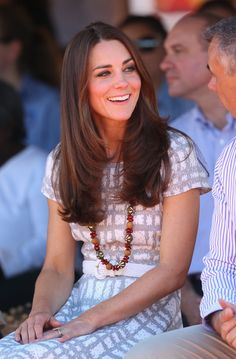 Kate's hair was looking especially great that day, don't you think?Wearing: Hobbs dress via StyleList