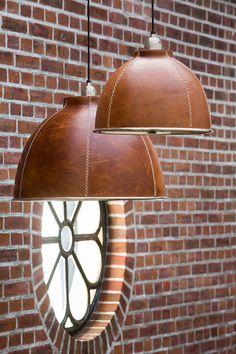 Leder Factory Lampe Industrielampe shabby Loftlampe Vintage Landhaus Fabrik - All About Decoration Leather Art, Leather Design, Brown Leather, Loft Lampe, Lampe Art Deco, Leather Projects, Vintage Country, Shabby Vintage, Leather Furniture