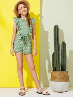 To find out about the Girls Polka Dot Ruffle Armhole Belted Romper at SHEIN, part of our latest Girls Jumpsuits ready to shop online today! Preteen Girls Fashion, Girls Fashion Clothes, Girl Fashion, Jumpsuits For Girls, Girls Rompers, Kids Outfits, Trendy Outfits, Ideias Fashion, Polka Dot