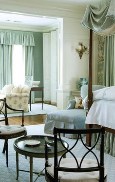 soft and restful- love the color palette that extends to adjoining sitting room