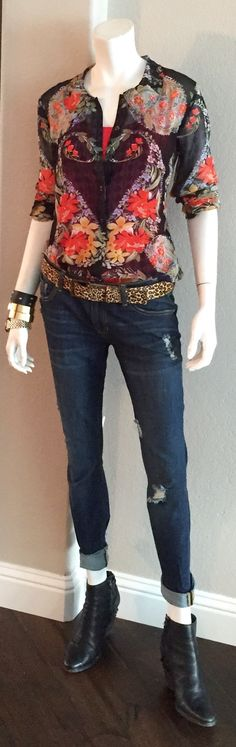 cabi fall '15 Dark Destruction Slim Boyfriend Jean, Kipling Belt, Amour Blouse & and our vintage cami.  Booties are the only option here - very cool.