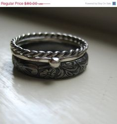 3O PERCENT OFF Dark Silver Stacking Rings by tinahdee on Etsy