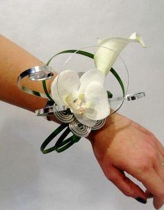 Bouquet de mariée bracelet anneau avec orchidées artificielles blanches