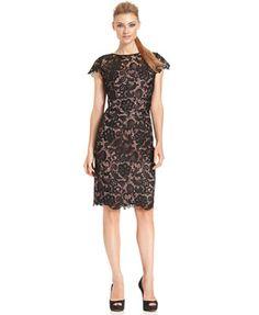 95ff0e226cd1 Patra Cap-Sleeve Illusion Lace Sheath Cap Dress
