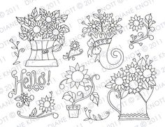 Digital Stamp / Embroidery Pattern - Hello Sunflowers