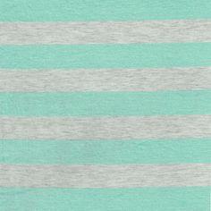 """1"""" Mint/Heather Gray Stripes Rayon Jersey Stretch Knit Fabric, Causal Jersey Knit Fabric, Knitting Fabric - 1 Yard Style 422"""