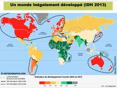 L'IDH en 2013: une lecture géoéconomique d'un monde complexe où la limite Nord / Sud devient obsolète. Source: © HISTGEOGRAPHIE.COM, d'après PNUD 2014
