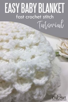 with our step-by-step instructions and video tutorial you can learn this easy crochet blanket stitch and quickly crochet this baby blanket. Crochet Baby Blanket Tutorial, Crochet Stitches For Blankets, Crochet Baby Blanket Free Pattern, Crochet Baby Blanket Beginner, Easy Baby Blanket, Easy Crochet Patterns, Baby Blankets, Crochet Throws, Crocheted Afghans