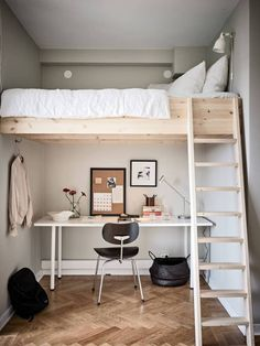 Cozy duplex studio home Room Design Bedroom, Girl Bedroom Designs, Room Ideas Bedroom, Small Room Bedroom, Bedroom Loft, Home Decor Bedroom, Girls Bedroom With Loft Bed, Mezzanine Bedroom, Tiny Bedrooms