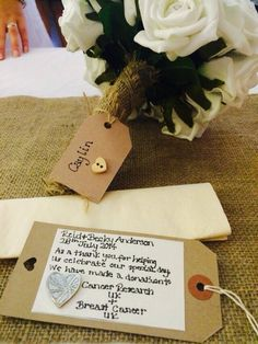 Handmade favours, with the money donated to Cancer Research UK and Breast Cancer #diybride