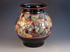 Large Handcarved Mosaic Vase With Dragonflies Dark by potmaker