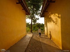 Yellow wall@Cambodia;from national geographic
