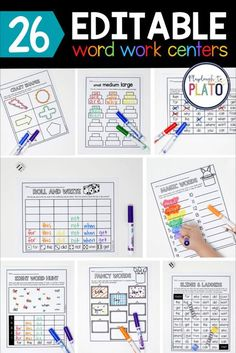 These editable word work activities are a great addition to your writing, sight words, spelling lists, word families units and centers. They're low prep and editable so you can reuse them again. This is a great word work activity pack for early elementary teachers - Pre-K, Kindergarten, and First Grade. #earlychildhoodeducation Kindergarten Writing Activities, Word Work Activities, Kindergarten Centers, Literacy Centers, Activities For Kids, Word Work Stations, Word Work Centers, Spelling Practice, Spelling Lists