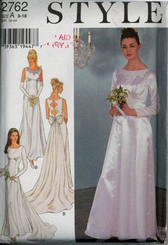 Uncut Wedding Bridal Gown Style 2762 Bust 32 34 36 38 40 Dress Sewing Pattern A Style Mis Bridal Gown Styles, Bridal Style, Bridal Gowns, Wedding Gowns, Formal Wedding, Wedding Dress Sewing Patterns, Gown Pattern, Pattern Sewing, Wedding Dress Accessories